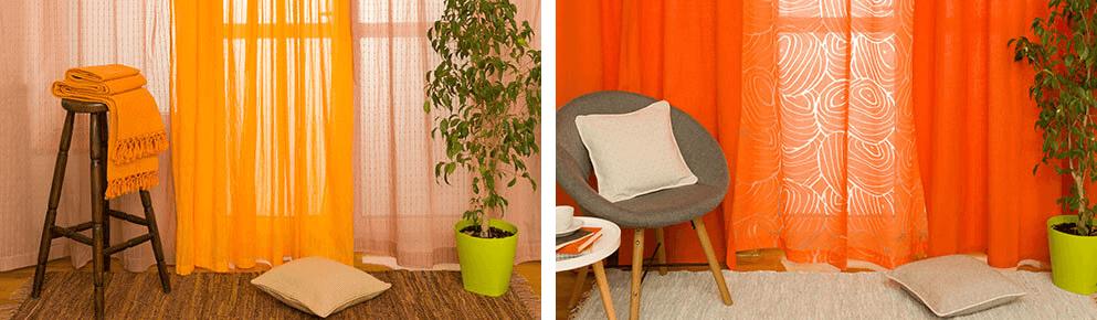 Izbor zavesa za dnevnu sobu - narandžasta i crvena zavesa