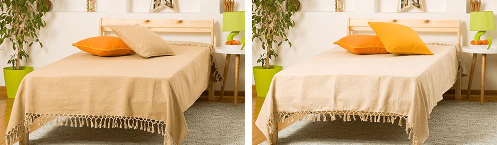 kreveti sa bez i sivim prekrivacima za krevet i jastucnicama