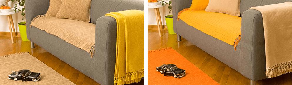 naranzasta i siva prostirka za pod i krevet