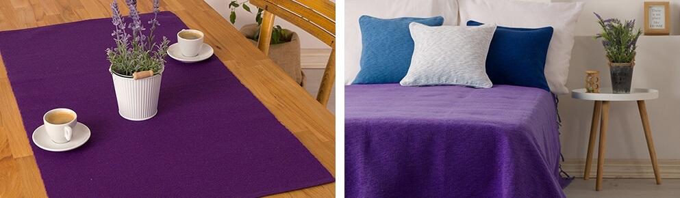 Ljubicasti nadstolnjak i prekrivac za krevet
