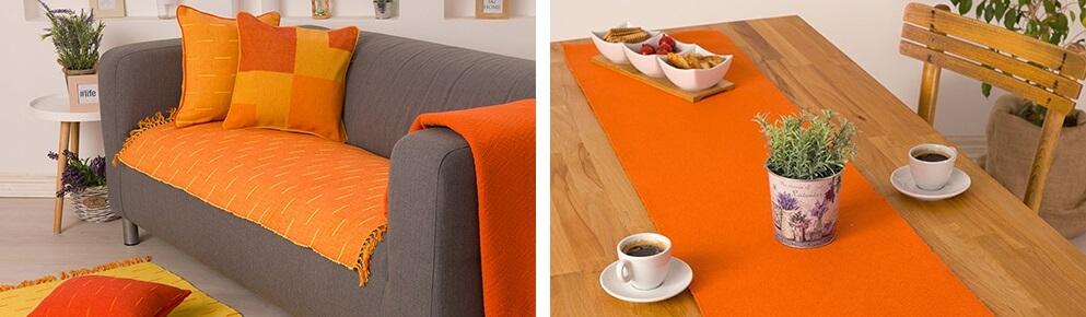Narandzasti prekrivac za krevet i narandzasti nadstolnjak