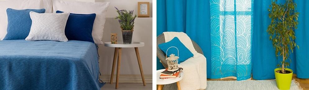 Plave zavese, plava prostirka za krevet sa plavim i belim jastucnicama