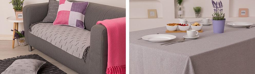 Sivi prekrivac za krevet i sivi stolnjak
